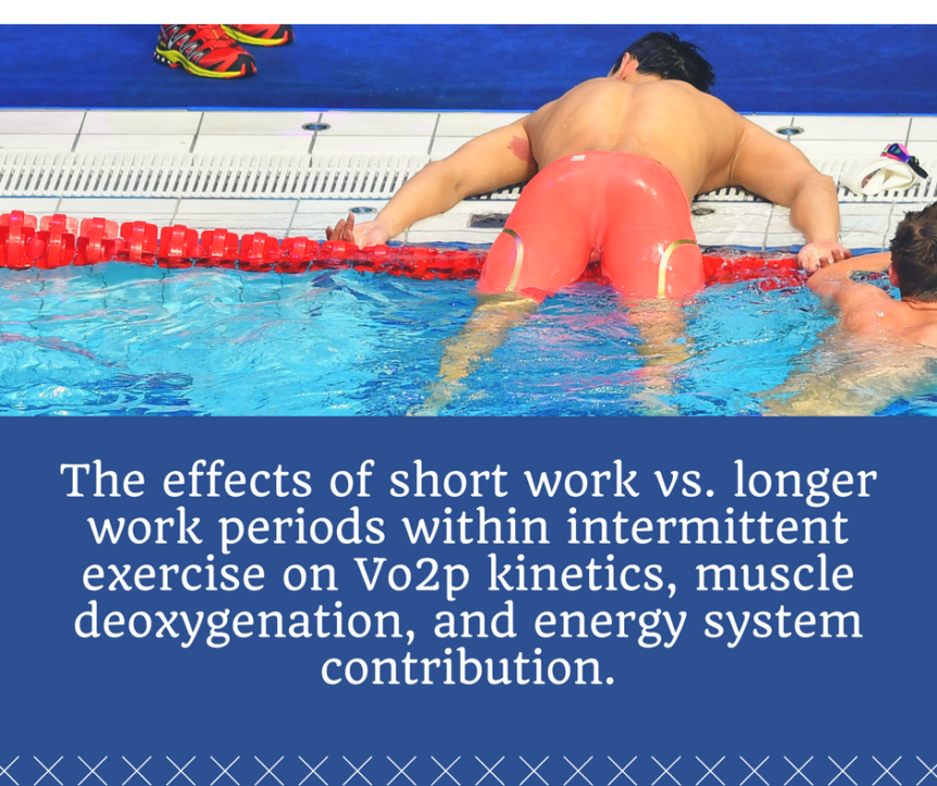 The effects of short work vs. longer work periods within intermittent exercise on V̇o2p kinetics, muscle deoxygenation, and energy system contribution.