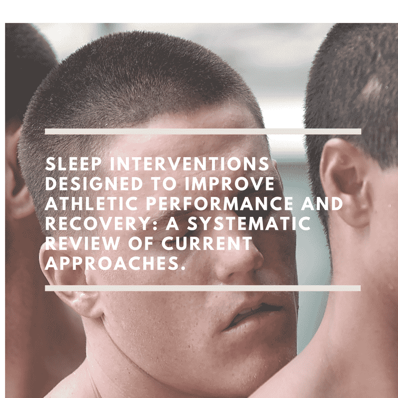 Sleep Interventions Designed to Improve Athletic Performance and Recovery A Systematic Review of Current Approaches.